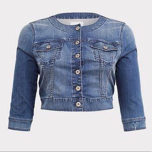 Torrid Collarless Crop Jean Jacket— Medium Wash